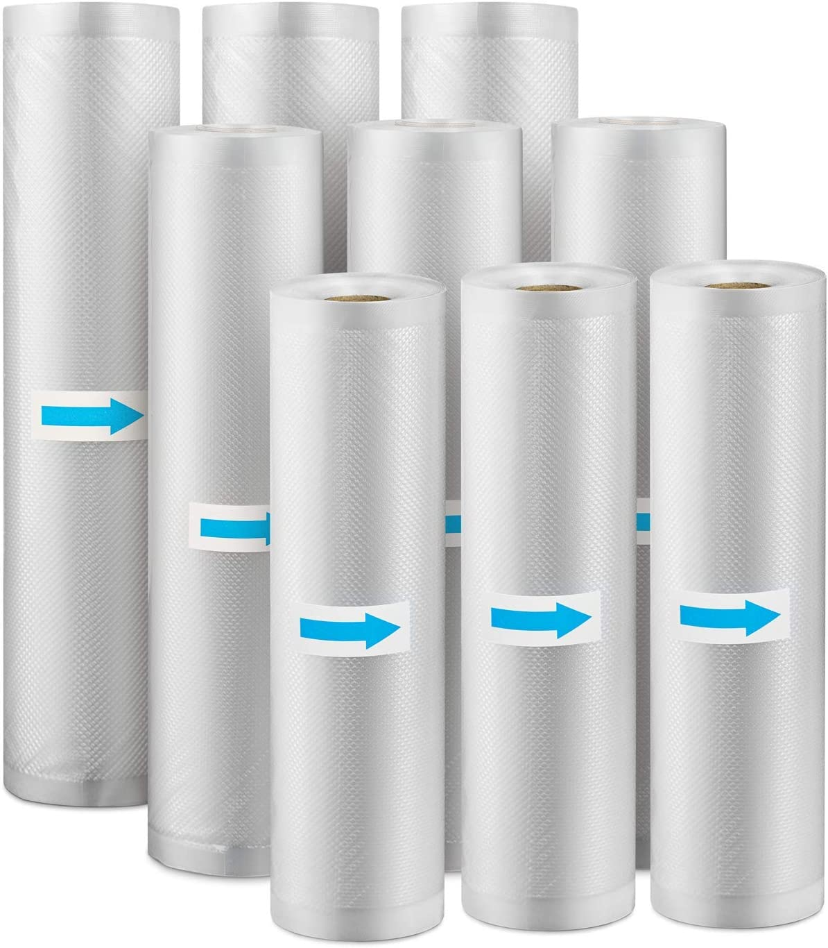 Gibot Vacuum Sealer Bags for Food 9 Rolls Premium Reusable Food Saver Vacuum Sealer Bags Rolls with BPA Free for All Vacuum Sealer Machine, 8