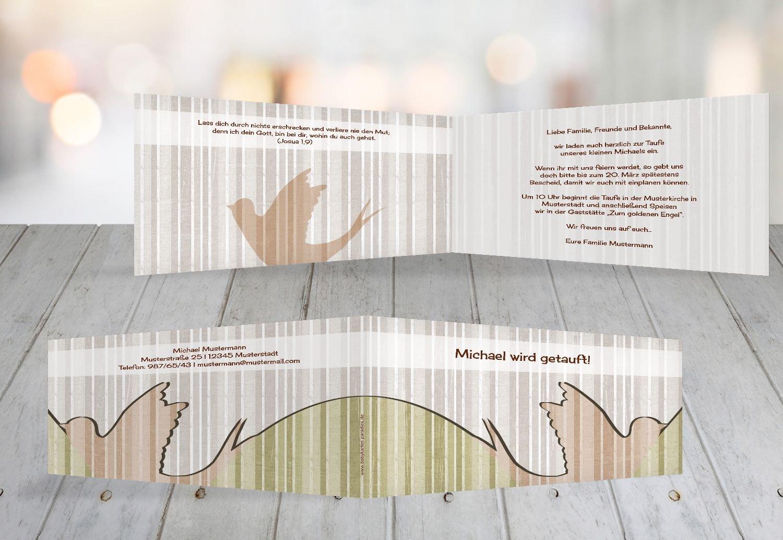 Kartenparadies Einladungskarte Taufeinladung Taufkarte Streifenharmonie, hochwertige hochwertige hochwertige Einladung zur Taufe inklusive Umschläge   100 Karten - (Format  215x105 mm) Farbe  OckerBeige B01N5V8KUL | Billiger als der Preis  | Quality First  | Hohe Qualität e434f2