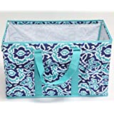 Collapsible Utility Tote Teal and Navy Design