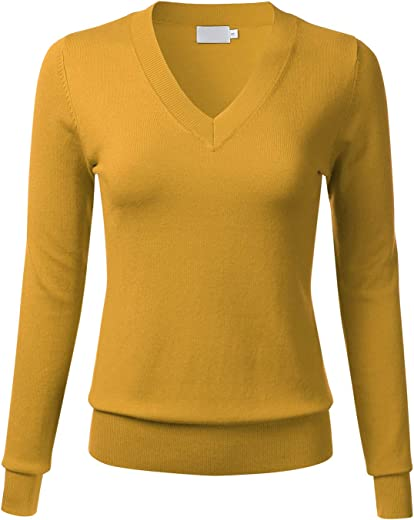 FLORIA Women's Soft Basic Thick V-Neck Pullover Long Sleeve Knit Sweater (S-XL)