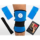 LykeLux Knee Pain Relief Gel Ice Pack Wrap - For Cold & Hot Therapy - Soothes Arthritis & Meniscus Aches, Swelling, Elbow, Thigh & Forearm Pain – Extra Gel Pack, Pressure Strap & E-book Included