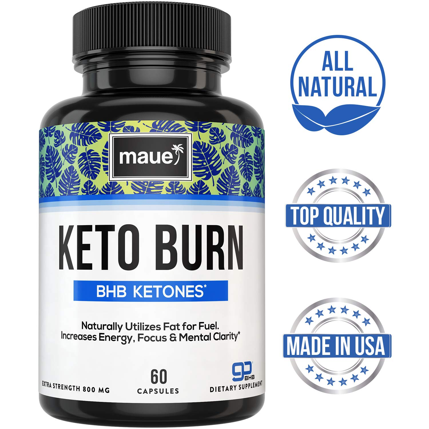 Premium Keto Diet Pills - Advanced Keto Burn BHB - Boost Energy & Focus, Manage Cravings, Support Metabolism - Exogenous Ketones Supplement for Women and Men - 60 Capsules by Maue