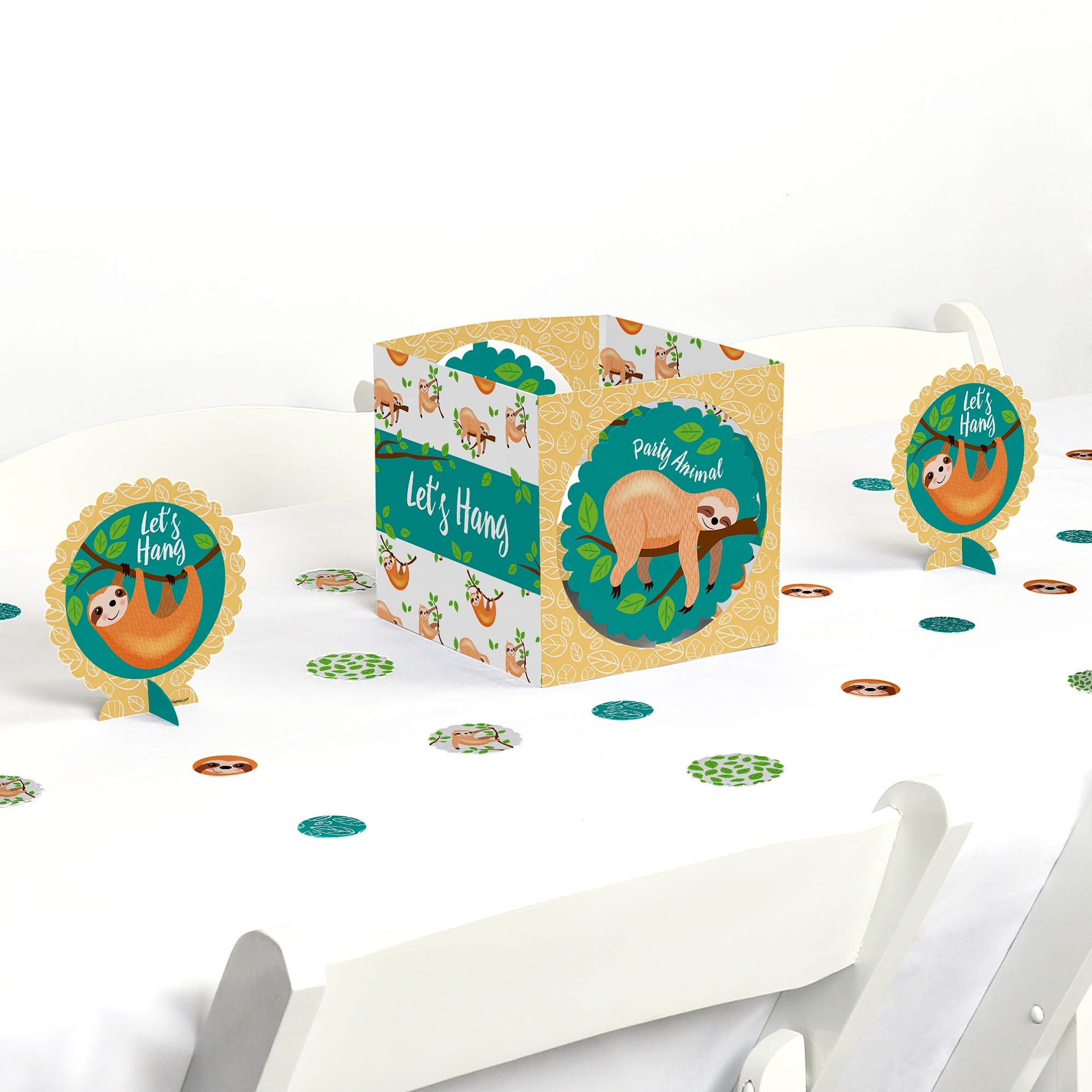 Big Dot of Happiness Let's Hang - Sloth - Baby Shower or Birthday Party Centerpiece & Table Decoration Kit