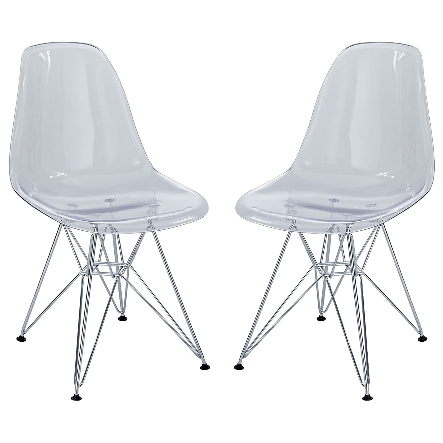 Amazon Modway Paris Dining Side Chair Clear Set of 2 Chairs