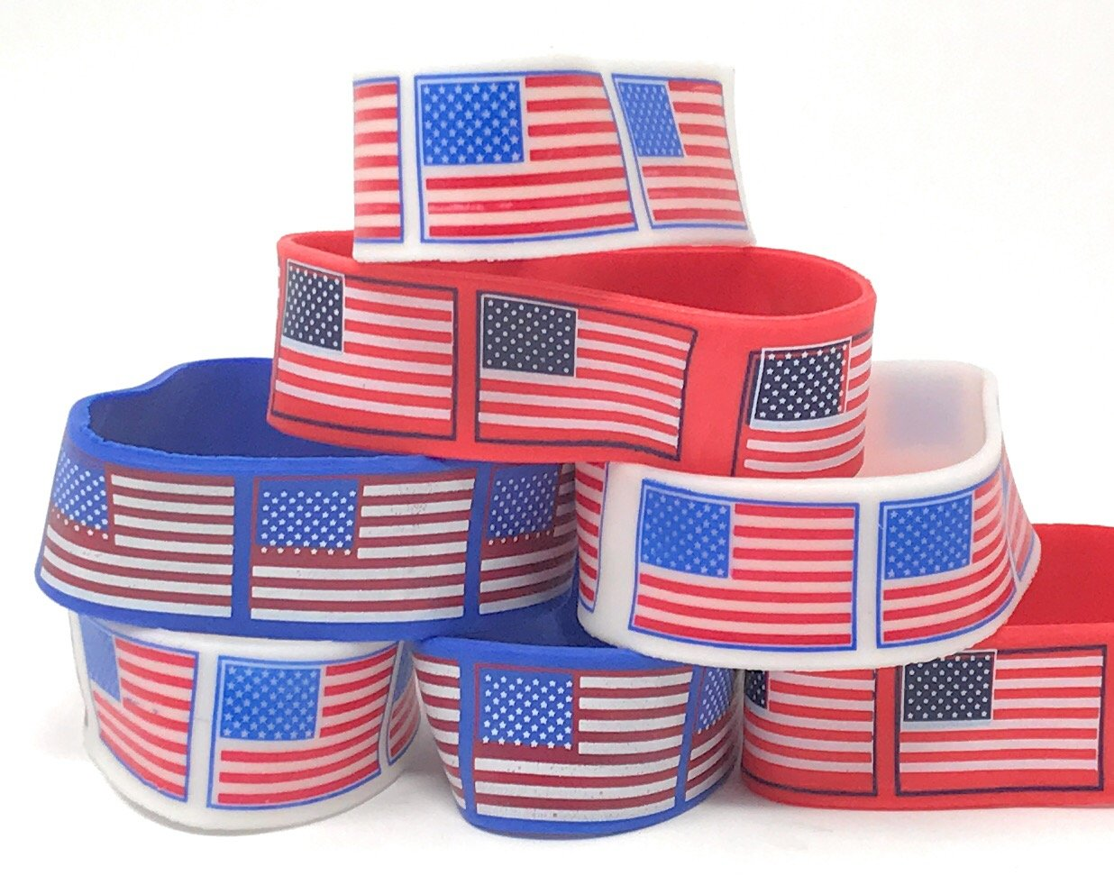 Bulk 48 Pack of American Flag Bracelets - Ideal Party Favors for Fourth of July Parades, 4th of July Parties, BBQ's, Picnics and Family Events by SVT (Image #4)