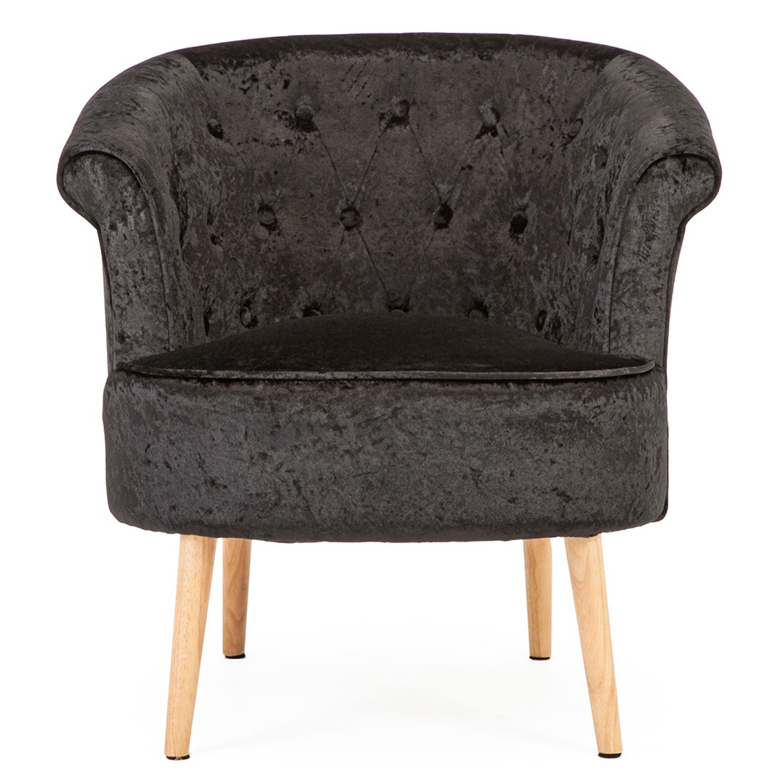 DAHLIA CRUSHED VELVET OCCASIONAL BEDROOM LIVING ROOM ACCENT TUB CHAIR FABRIC ARMCHAIR (Black) Cosy Chair