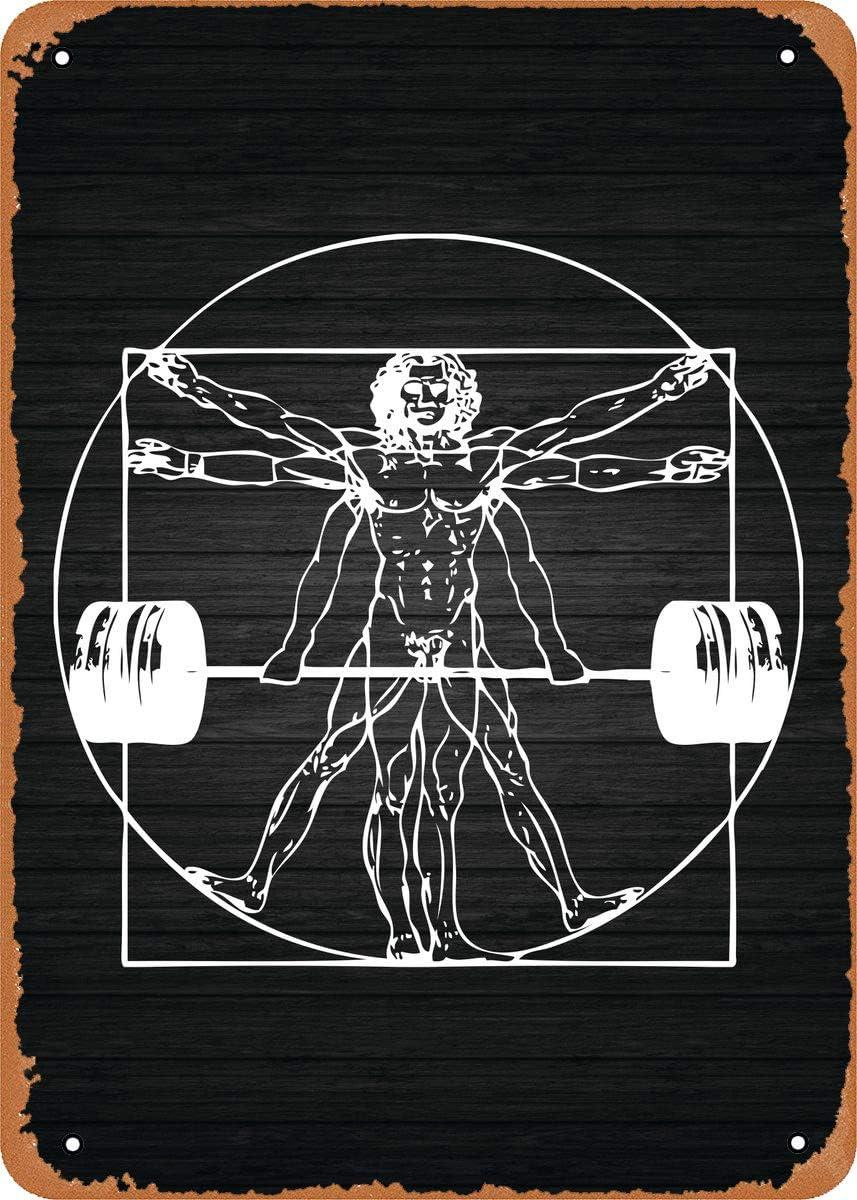 Fanzi Vintage Look Metal Sign - Gym Motivation Vitruvian Barbell Man - 8