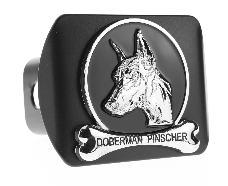 Dog Chrome 3D Badge Emblem metal Trailer Hitch Cover (Fits 2'' Receiver, Doberman Pinscher) by eVerHITCH