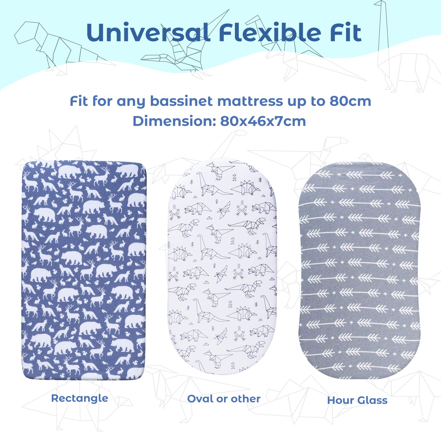 Tr/äumeland Alvi Cot Bed Sheets Crib Mattress Cover Mattress Protector for Boys /& Girls Fits Mother Nurture Momcozy Moses Basket Sheets Fitted Universal 3 Pack 74x28cm//67x30cm//65x28cm//80x46cm