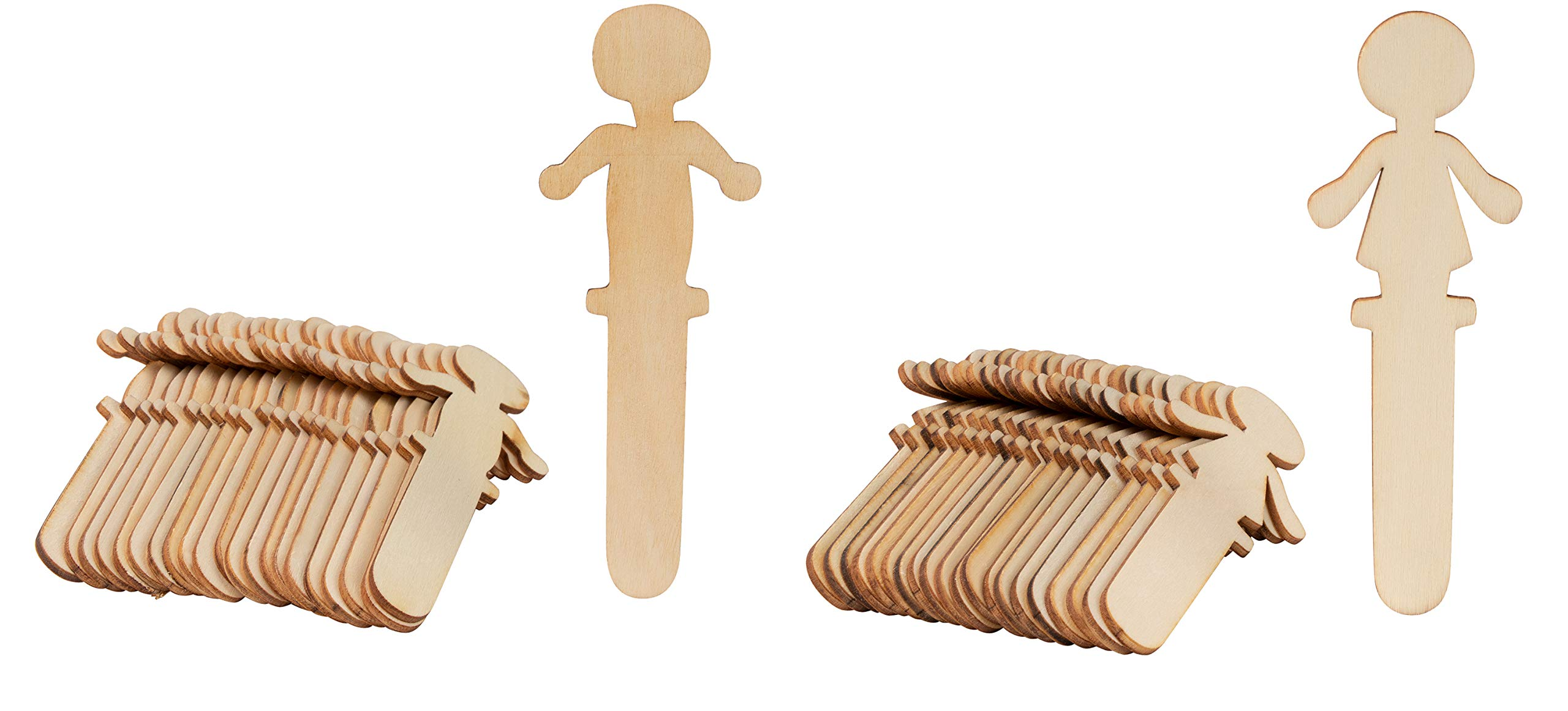 People Craft Sticks - 100-Pack Wooden People Shaped Craft Sticks, 5.8 x 2 x 0.1 Inch Male and Female Wood Craft Sticks People for DIY Arts and Crafts Projects, Crafting Supplies by Juvale