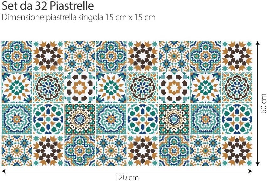 Adesivi per Piastrelle Formato 10x10 cm Confezione 36 Pezzi PS00098 Safi Adesivi in PVC per Piastrelle per Bagno e Cucina Stickers Design Made in Italy