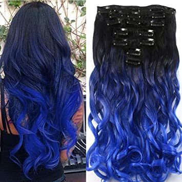 Clip In Hair Extensions Neverland 7pcs 16 Clips Ombre Curly Heat