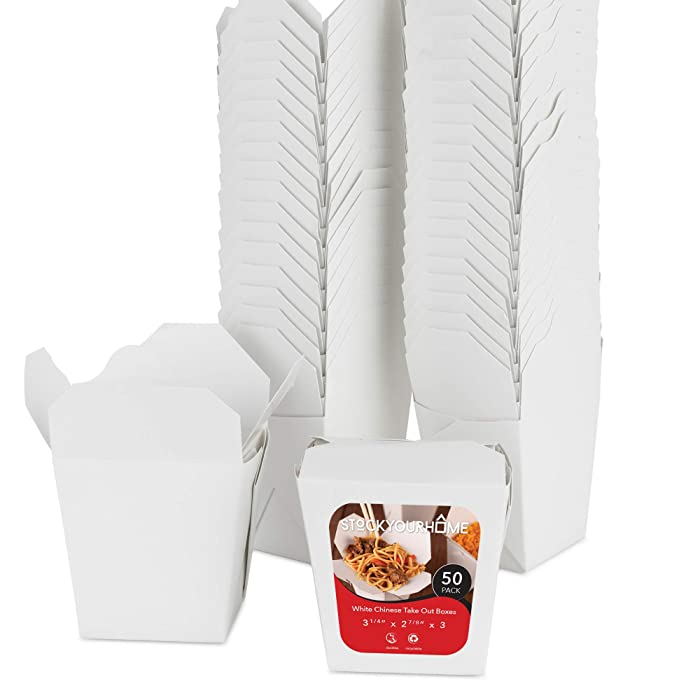 Paper Take Out Food Containers 16 Oz Microwaveable White Chinese Takeout Boxes (50 Pack) - Eco Friendly Disposable Leak and Grease Resistant Travel to Go Food Containers for Restaurants - Gift Box