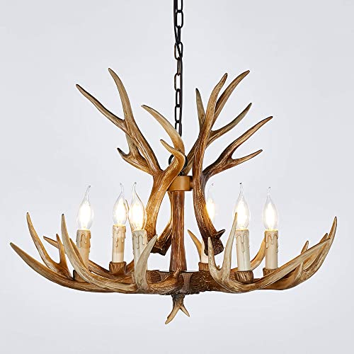 Antler Chandelier 6 Light Vintage Style Resin 28 Inch Large Faux Chandeliers American Countryside Deer Horn Lamps