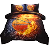 JQinHome Full 3-Piece Basketball and Fire Comforter Sets - Sports Themed - All-Season Down Alternative Quilted Duvet - Reversible Design - Includes 1 Comforter, 2 Pillow Shams