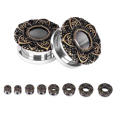 D&M Jewelry 00g Par de Dilatador Roscado de Acero Inoxidable Piercing