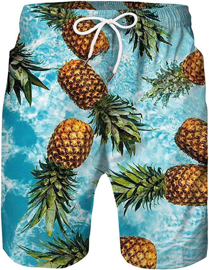 Mens Leaves Pattern Quick Drying Moisture Perspiration Swim Trunks
