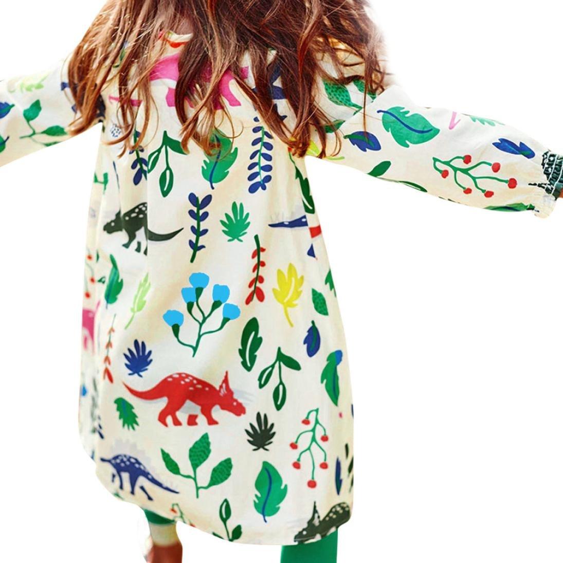 Für 2-7 Jahre Mädchen Kleid, Janly Kinder Dinosaurier Pflanzen Gedruckt Mini Kleider Pullover Kinder Baumwolle Herbst Kleidung (Alter: 2 Jahre alt)