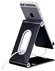 Cell Phone Stand, iPhone Stand for Desk Foldable iPad Tablet Holder Charging Dock Cradle for iPhone 6 6s 7 8 X Plus 5 5s 5c Nintendo Switch and All Smartphones