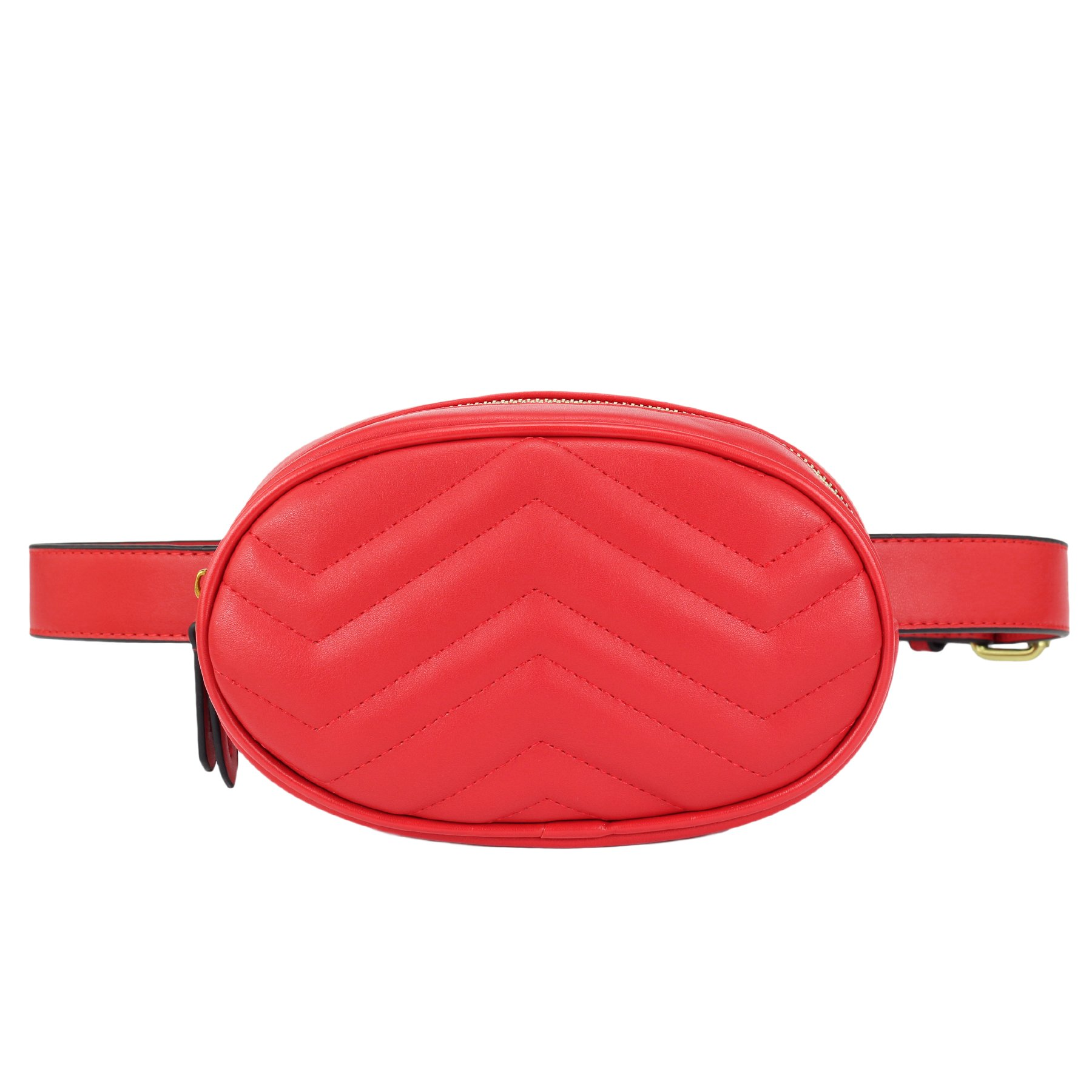 ZORFIN Women Fashion Quilted Leather Fanny Pack Classy Wasit Bag with Two Belts