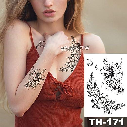 tzxdbh Impermeable Etiqueta engomada del Tatuaje Temporal Vid Flor ...