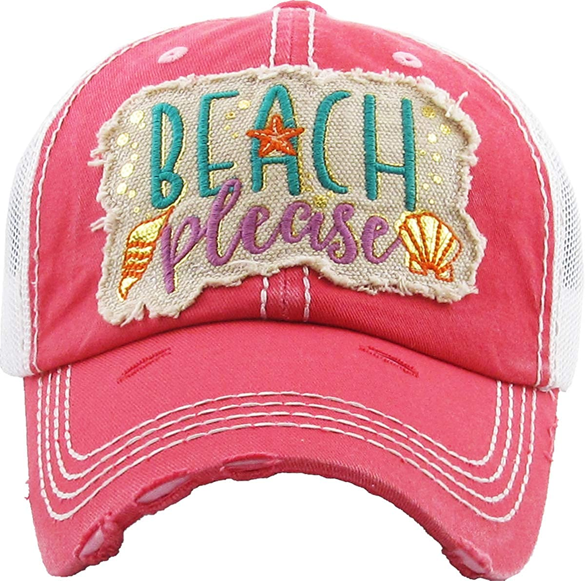 Beach Please Metallic  Coral Funky Junque Womens Baseball Cap Distressed Vintage Unconstructed Embroidered Dad Hat