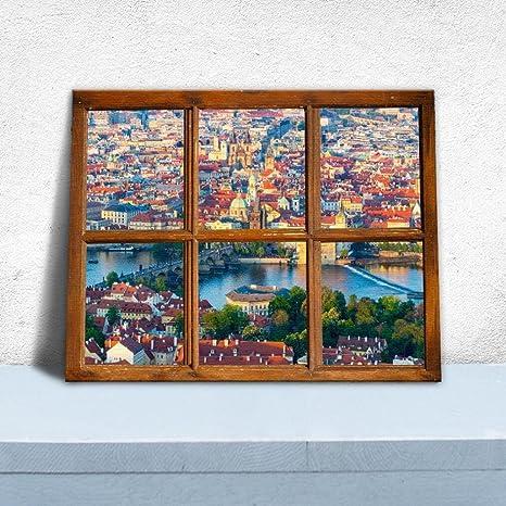 KKYLOVEJ 6 Sfondo della finestra della griglia del palazzo Tela di ...