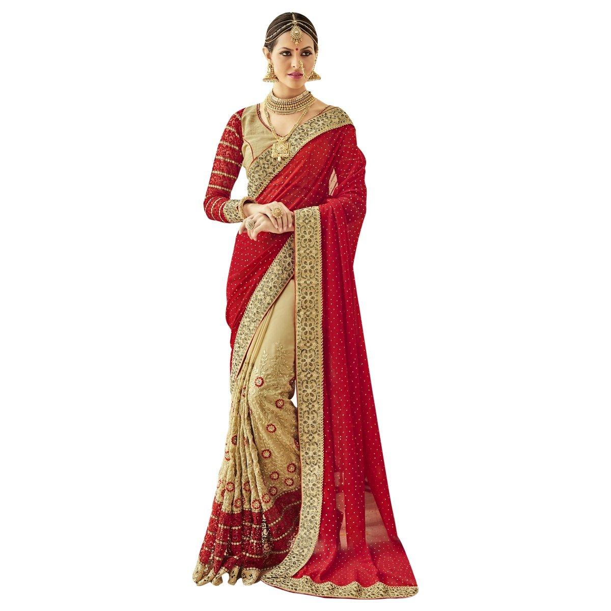 Aksaa Fashion Women's Indian Beige Embroidered Faux Georgette Wedding Saree, Sari AKTSNDK1106
