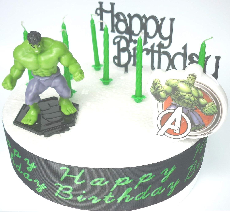 Excellent Hulk Birthday Cake Decoration Set Amazon Co Uk Kitchen Home Funny Birthday Cards Online Elaedamsfinfo
