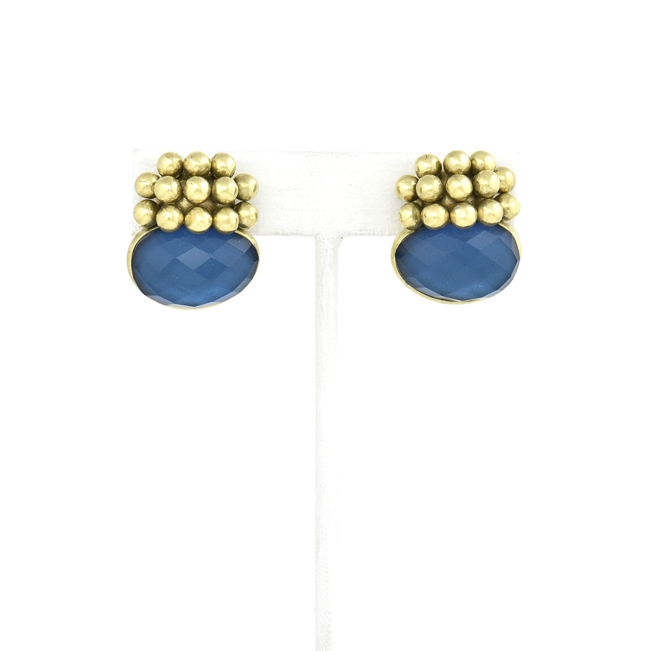 VAUBEL Ball Cluster With Stone Button Clip On Earrings, Green Gold, One Size
