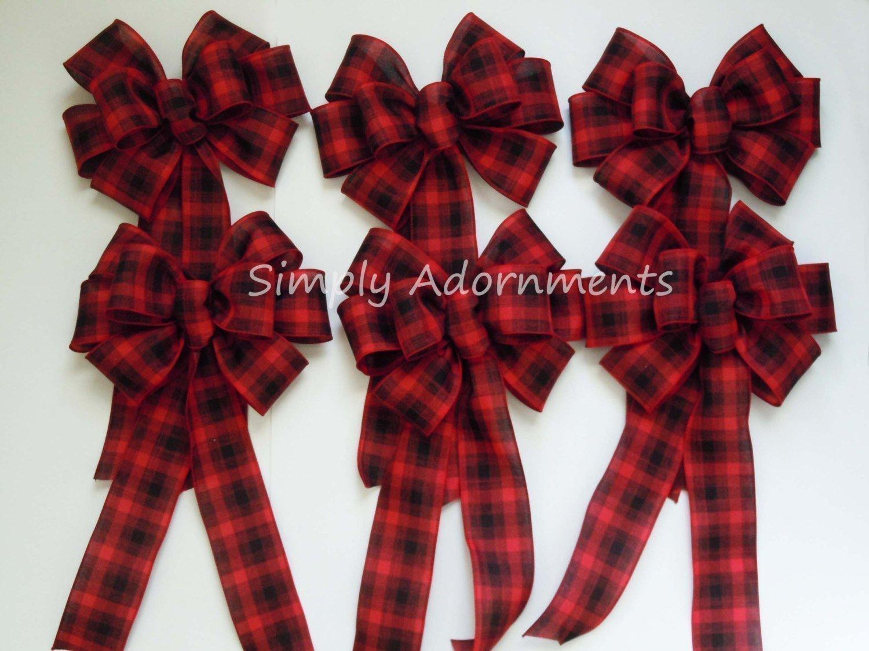 ... Red Black Plaid Bow Lumperjack Plaid Wreath Bow Red Black Tartan Bow  Country Wedding Bow Cabin cfb3dde9ebb3