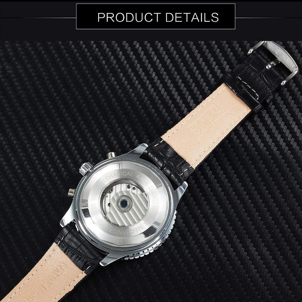 AIZHIJIA Fashion Sport Tourbillon Men Watches Auto Mechanical Wristwatches Sub Dials Display Leather Clock Black