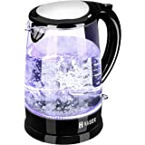 Habor Electric Kettle Water Boiler 1500W Fast Heating Glass Tea Pot, 1.8 Qt(1.7 L) Kettle with Visible Blue LED Lights Bright Glass Body Auto Shut-Off Boil-Dry Protection Stainless Steel Inner Lip