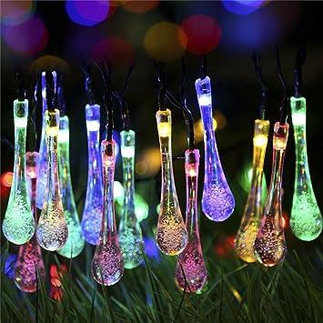 Su0026G Fairy Garden Lights, Multi Color 7.85M 40 Solar Powered Waterproof  Water Drop
