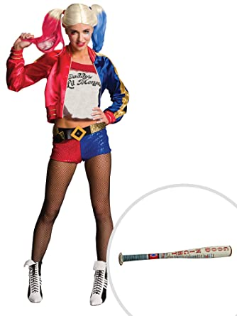 3c9a379313517c Amazon.com  Suicide Squad Harley Quinn Costume Kit Adult XL with Bat   Clothing