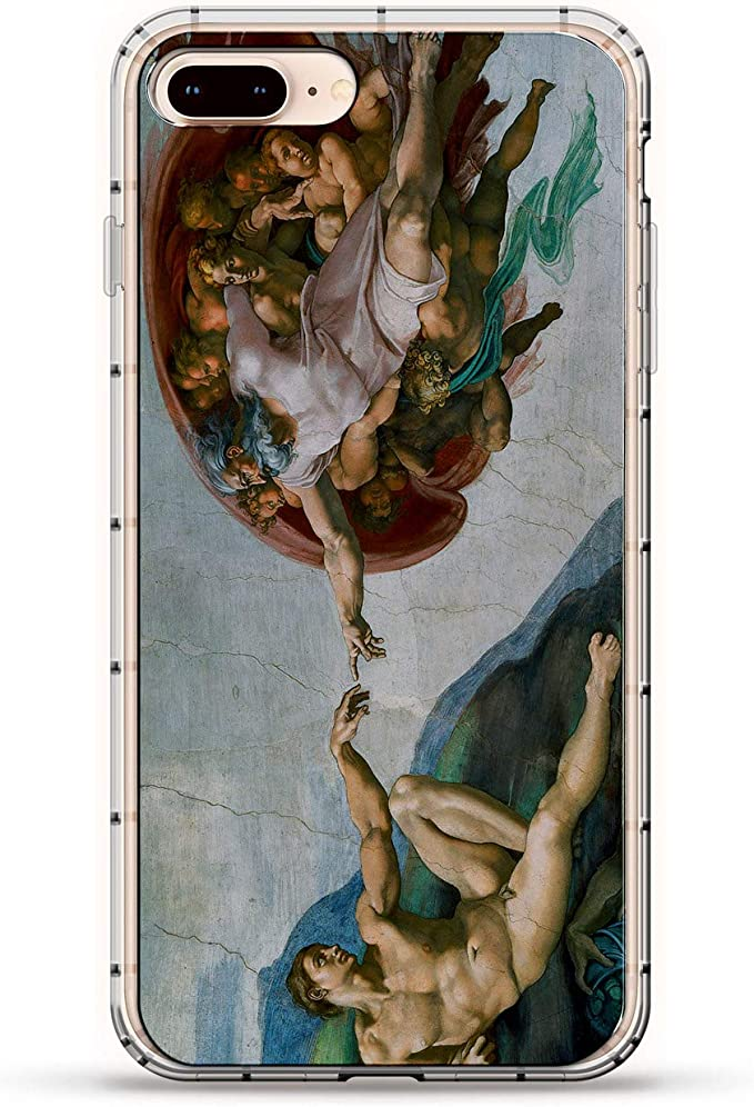 ART: CREATION OF ADAM PAINTING IMAGE | Luxendary Air Series Clear Silicone Case with 3D Printed Design and Air-Pocket Cushion Bumper for iPhone 8/7 ...