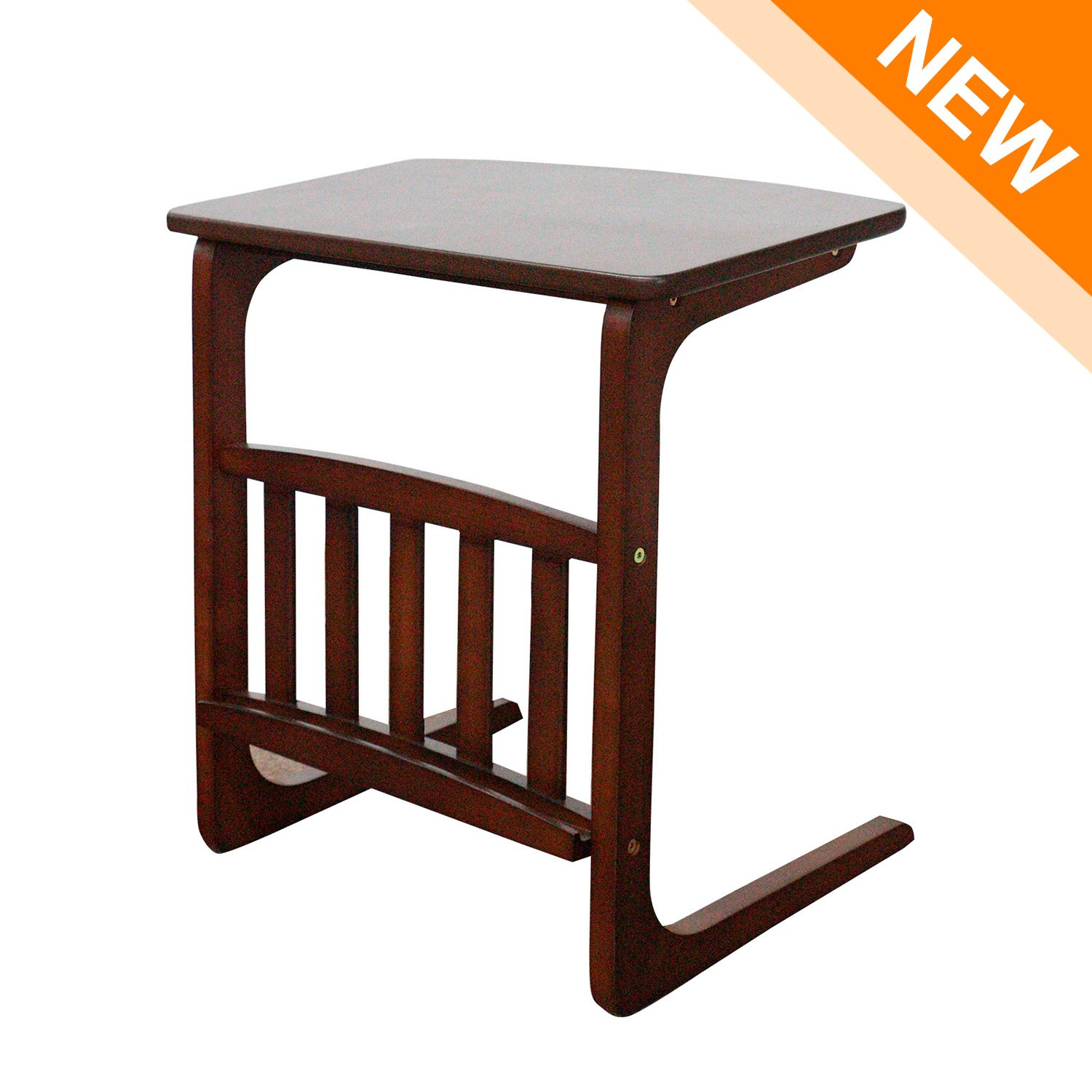 LCH Vintage Snack Side Table, Solid Wood End Table for Coffee Laptop, Slides next to Sofa Couch, Dark Brown
