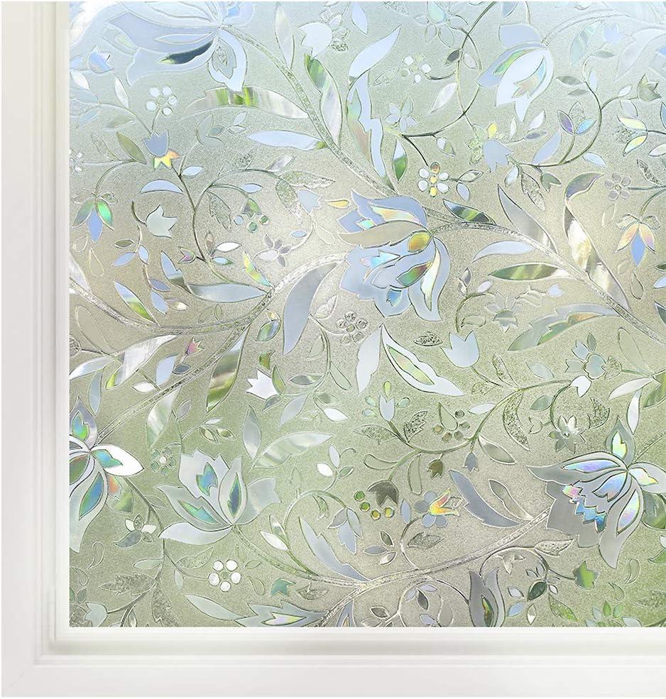 Rabbitgoo Decorative Window Film, Leaf Pattern