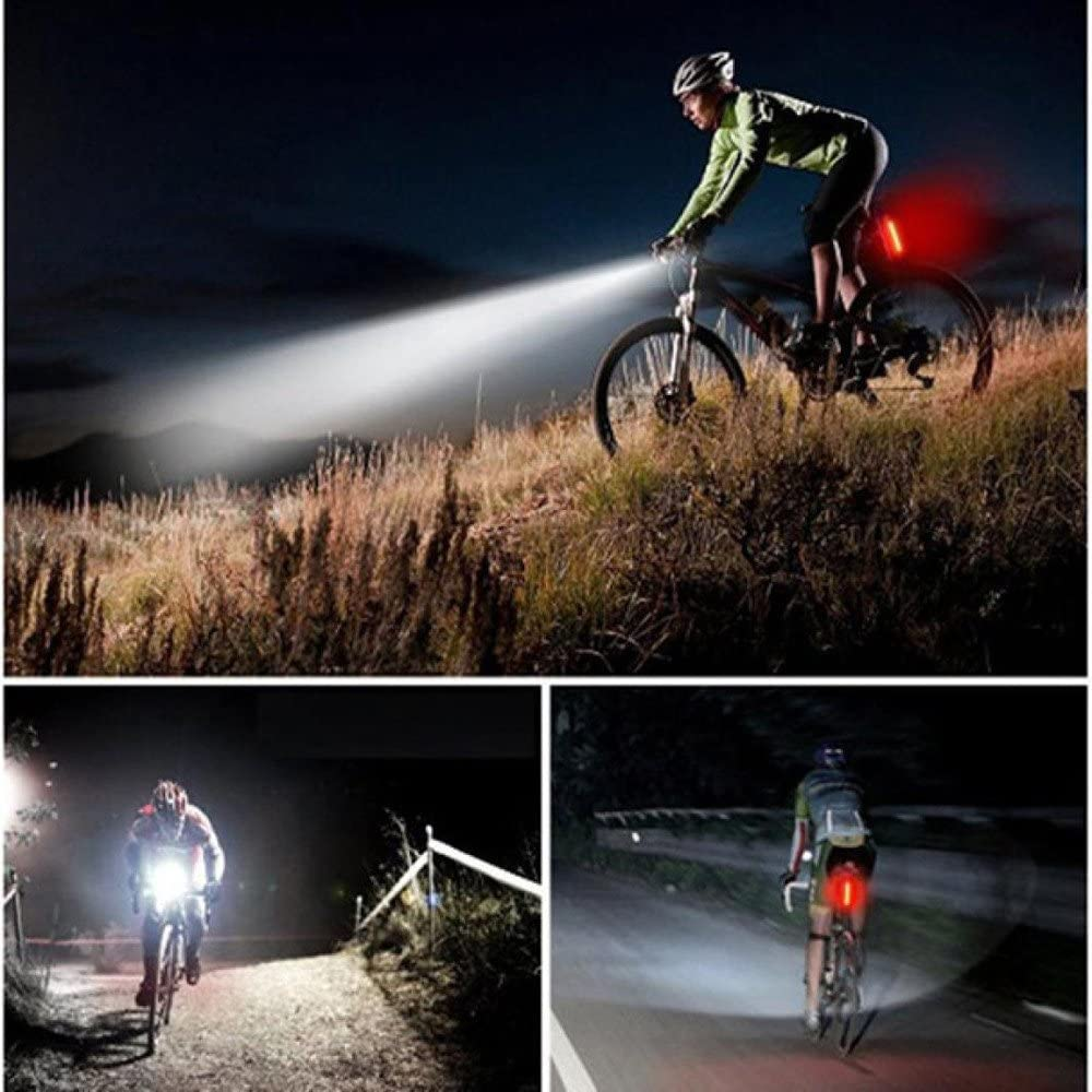 LED Headlight Rear Lights Easy to Install for Kids Men Women Road Cycling Safety Flashlight TeaBoy USB Rechargeable Bike Light Set Powerful Lumens Bicycle Light Front and Free Tail Light Set