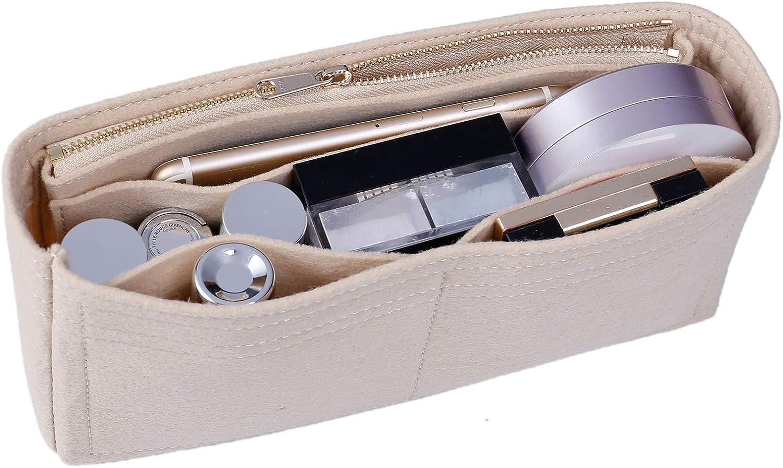 OAikor Purse Organizer Insert Felt Bag with Zipper Handbag Tote Shaper Insert for Speedy GG Marmont Handbags Beige