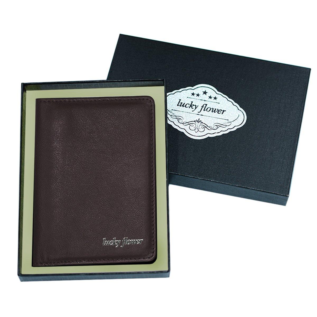 LUCKY FLOWER RFID Blocking Travel Wallet for Men,Minimalist Genuine Leather Slim Bifold Card Holder Purse(Coffee) by LUCKY FLOWER (Image #7)