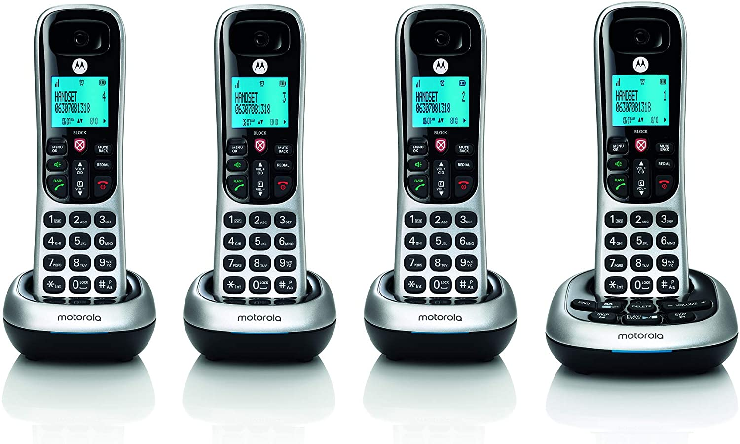 Motorola CD4014 DECT 6.0 Cordless Phone with Answering Machine and Call Block, Silver/Black, 4 Handsets