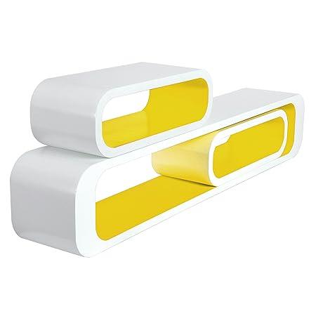 WOLTU RG9230gb Floating Shelves Yellow-White Display Shelf Wall ...
