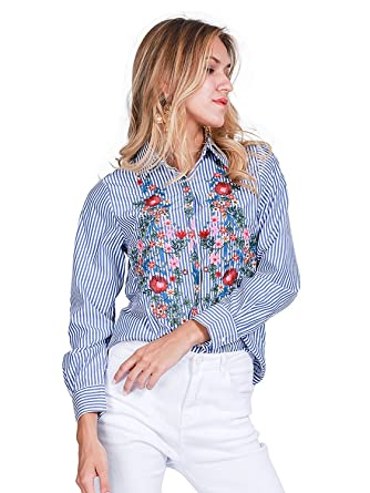 9002a40d QINGFANG Women's Boho Floral Embroidered Striped Shirt Blouse Top Blue (S,  ...