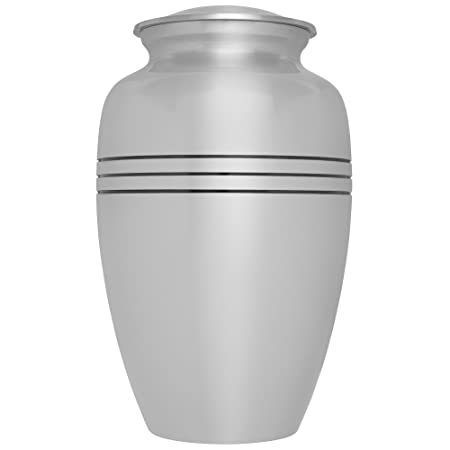 Silver Funeral Urn by Liliane Memorials – Cremation Urn for Human Ashes -Hand Made in Brass -Suitable for Cemetery Burial or Niche- Large Size fits remains of Adults up to 200 lbs- Monaco Silver Model