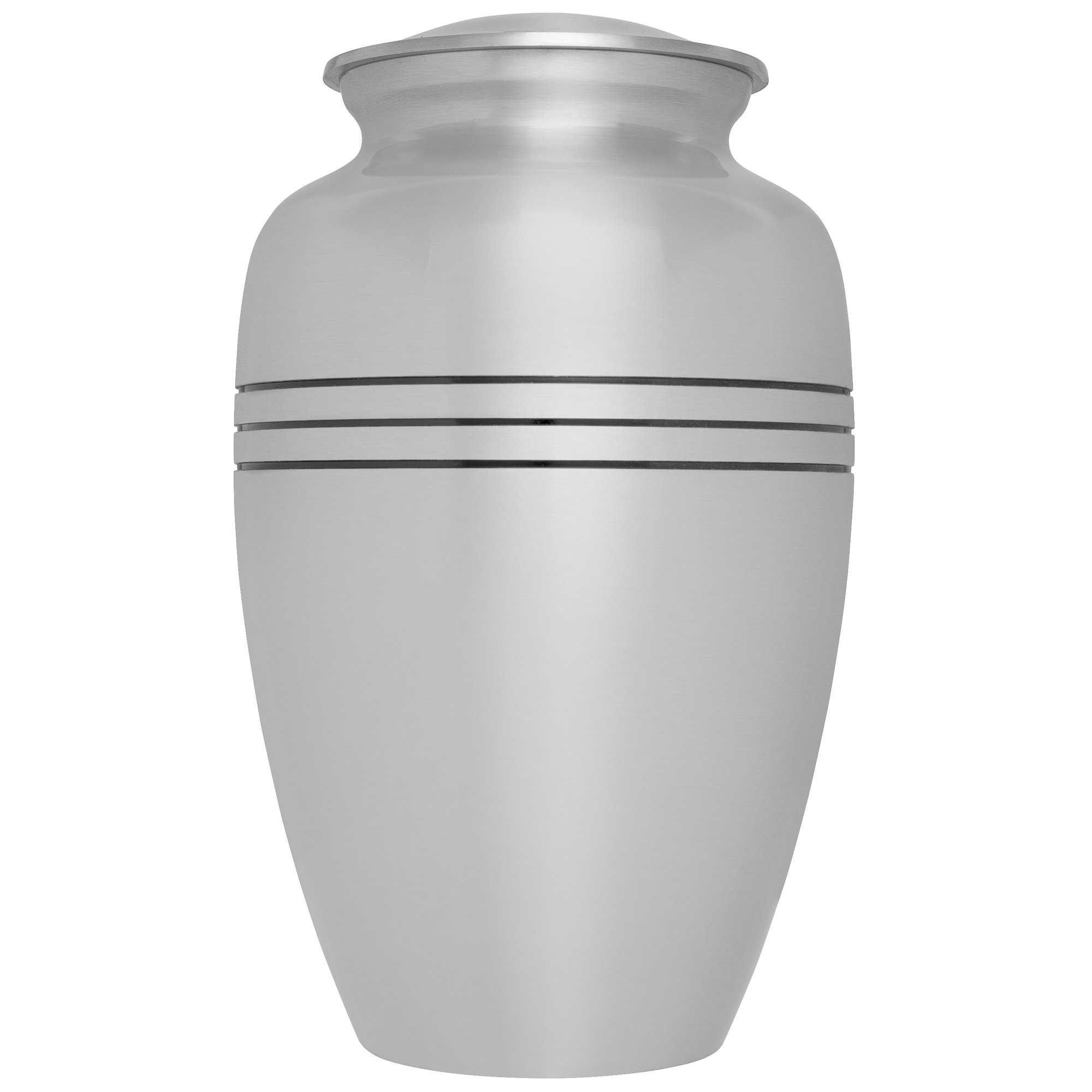 Silver Funeral Urn by Liliane Memorials - Cremation Urn for Human Ashes -Hand Made in Brass -Suitable for Cemetery Burial or Niche- Large Size fits remains of Adults up to 200 lbs- Monaco Silver Model