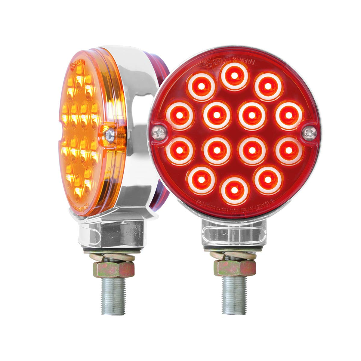 GG Grand General 75194 LED Light (3'' Pearl Double Face Amber/Red 14/Side, Twin Pack)