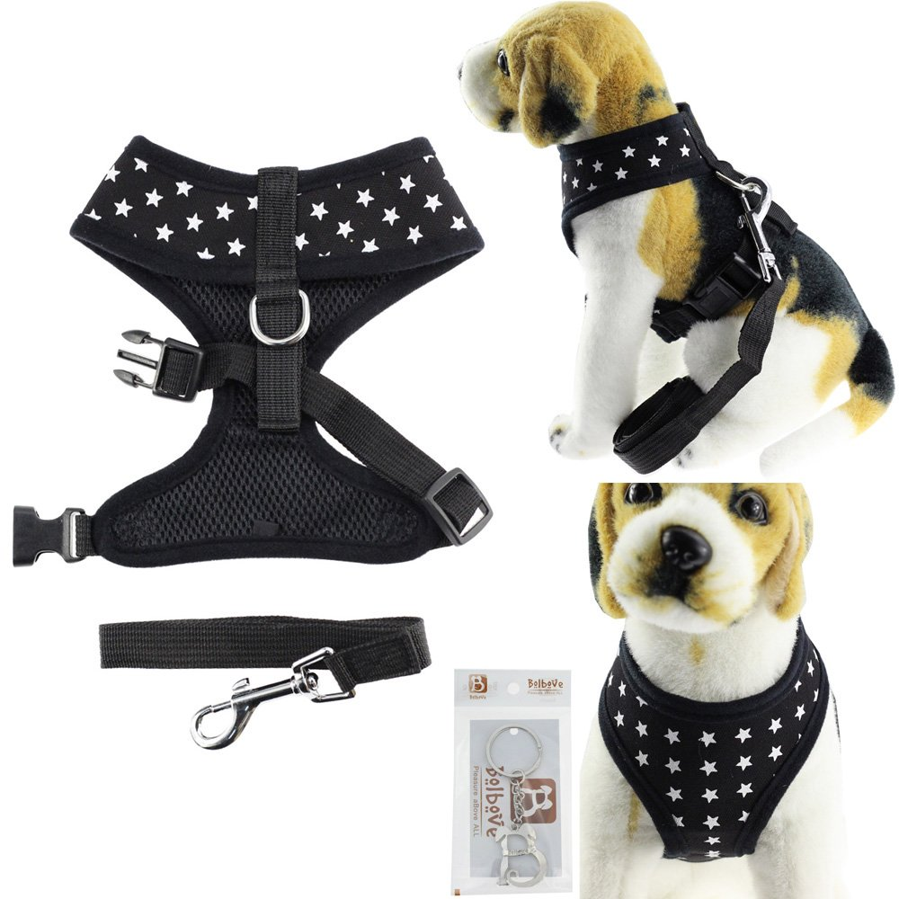 Bolbove Pet Adjustable Stars Mesh Harness and Leash Set for Cats & Small Dogs (X-Small, Black)