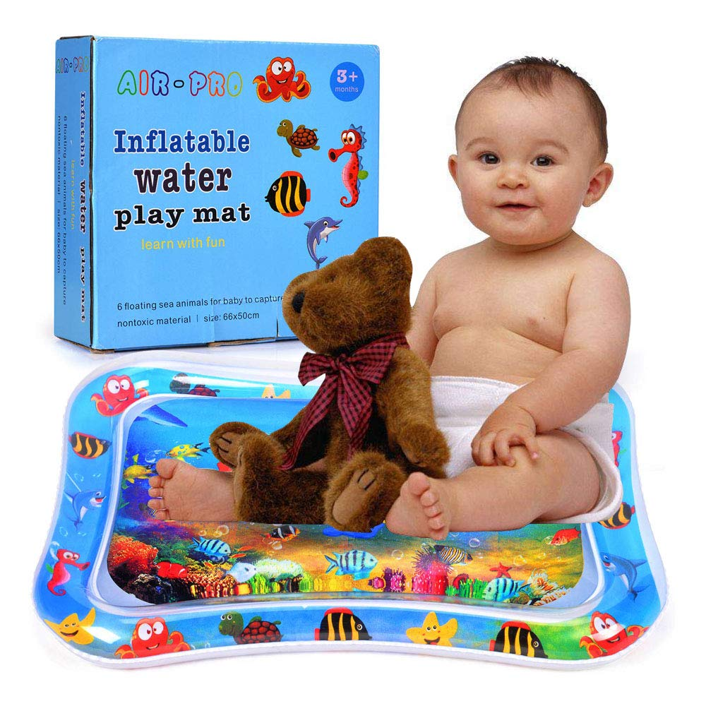 Baby Inflatable Water Mat Tummy Time Baby Playmats Leakproof BPA Free Water Mat Toys for Baby Play Gym Activity Mats Center Babies Stimulation Growth Infants 3 Months and Up (26X20 inch)