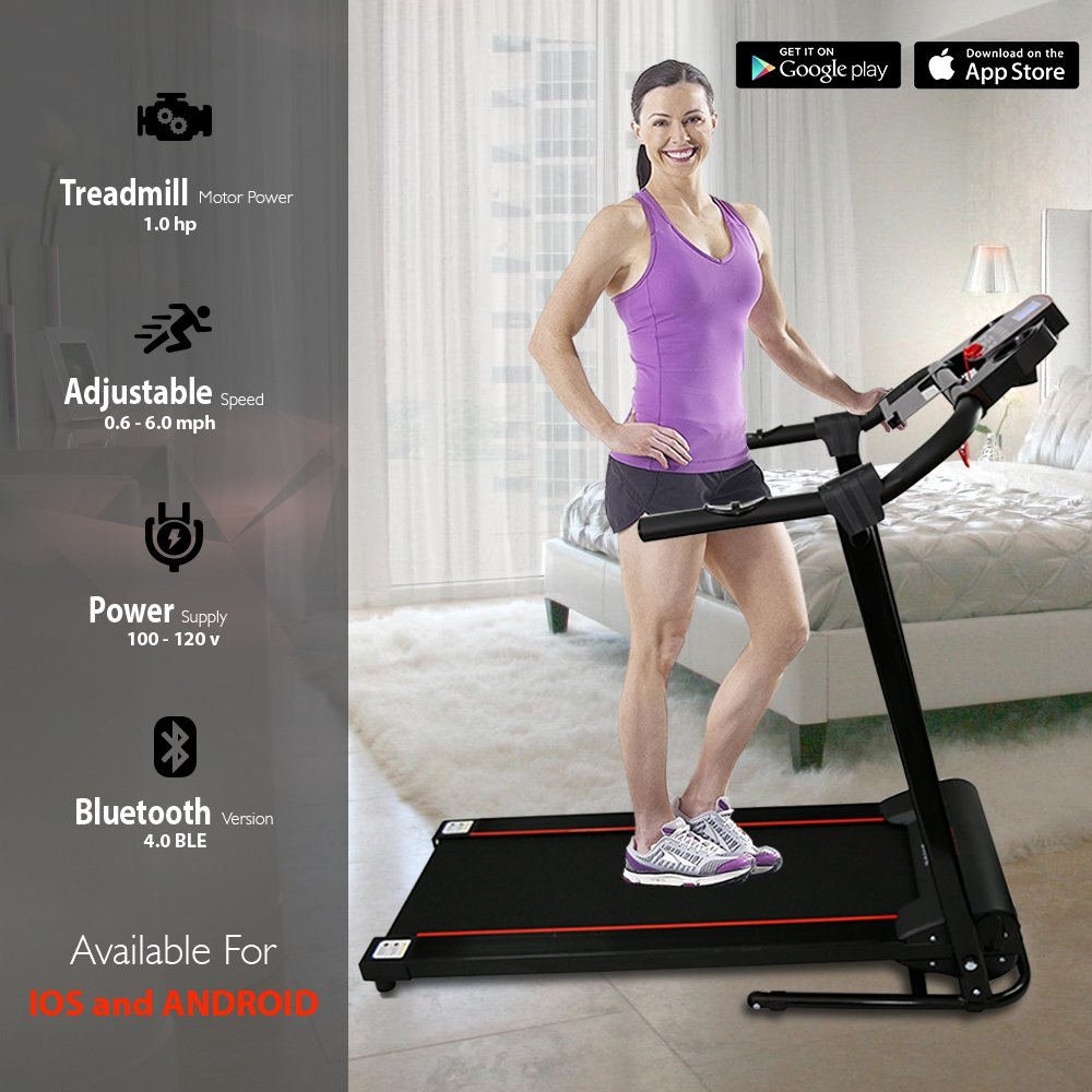SereneLife Smart Digital Folding Exercise Machine - Electric Motorized Treadmill with Downloadable Sports App for Running & Walking - Pairs to Phones, Laptops, & Tablets via Bluetooth - SLFTRD18 by SereneLife (Image #4)